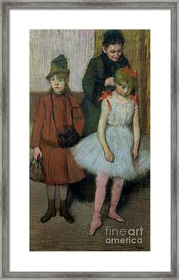 Woman With Two Little Girls Framed Print by Edgar Degas