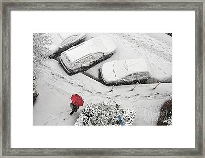 Woman With Umbrella Under Snow Framed Print by Sami Sarkis