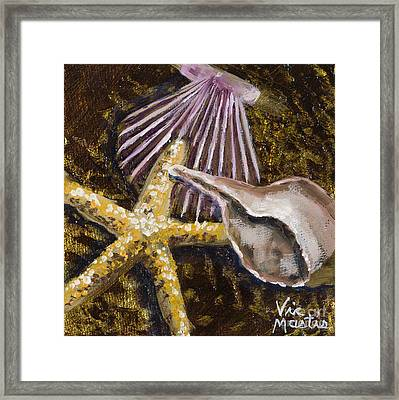 Wonderful Shells And Starfish With Gold Leaf By Vic Mastis Framed Print by Vic  Mastis