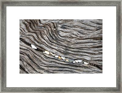 Wood Railroad Tie Pebbles Framed Print by David Kozlowski
