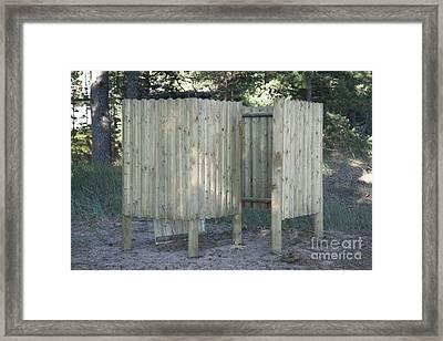 Wooden Beach Dressing Rooms Framed Print by Jaak Nilson