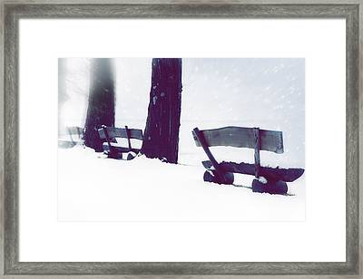 Wooden Benches In Snow Framed Print by Joana Kruse