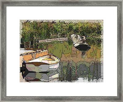 Wooden Boat Placid Framed Print by Tim Allen