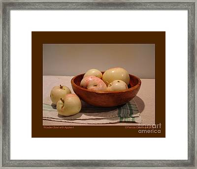 Wooden Bowl With Apples-i Framed Print by Patricia Overmoyer