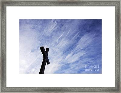 Wooden Cross Framed Print by Jeremy Woodhouse