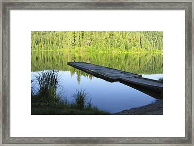 Wooden Dock On Lake Framed Print by Anne Mott