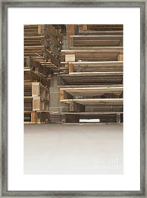 Wooden Pallets Stacked Up Framed Print by Shannon Fagan