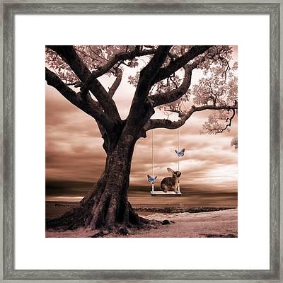 Woodland Swing Framed Print by Sharon Lisa Clarke