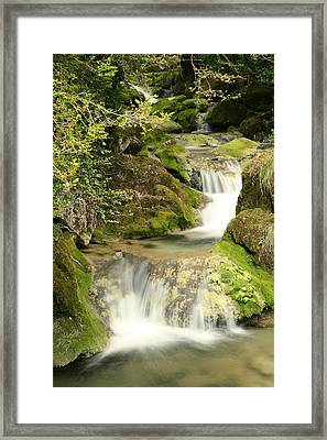Woodland Waterfall Framed Print by Victoria Hillman