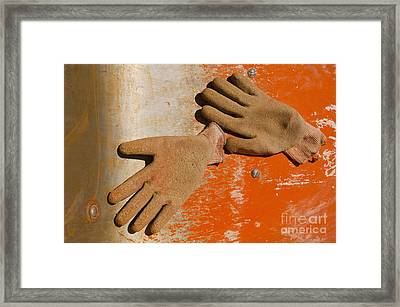 Work Gloves On Metal Surface Framed Print by Thom Gourley/Flatbread Images, LLC