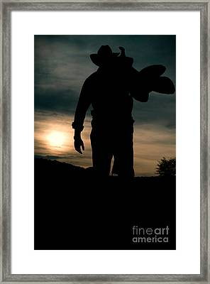 Working Man Silhouette At Sunset - Cowboy Calling It A Day Framed Print by Andre Babiak