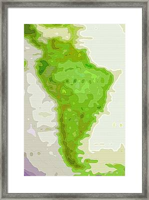 World Map - South America - Abstract Framed Print by Steve Ohlsen