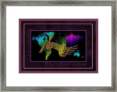 World Map Music Framed Print by Daryl Macintyre