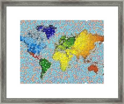 World Map Poker Chips Mosaic Framed Print by Paul Van Scott