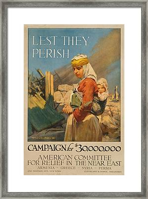 World War I Poster. Lest They Perish Framed Print by Everett