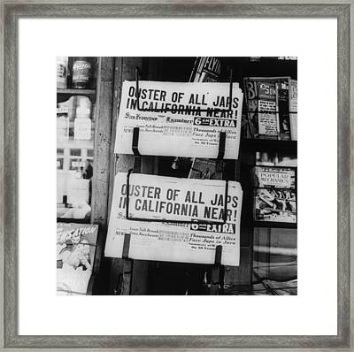 World War II, News Headlines Announcing Framed Print by Everett