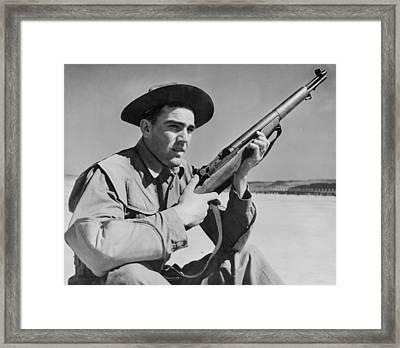 World War II, U.s. Soldier Ready Framed Print by Everett