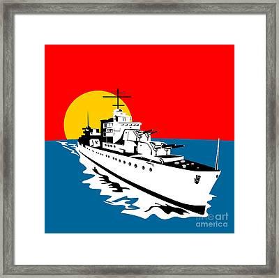 World War Two Battleship Warship Cruiser Retro Framed Print by Aloysius Patrimonio