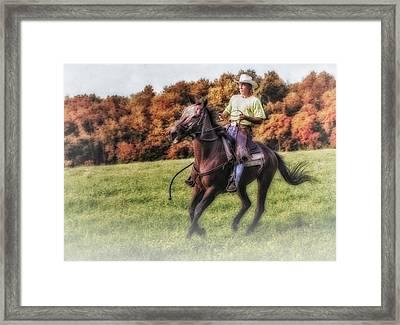 Wrangler And Horse Framed Print by Susan Candelario