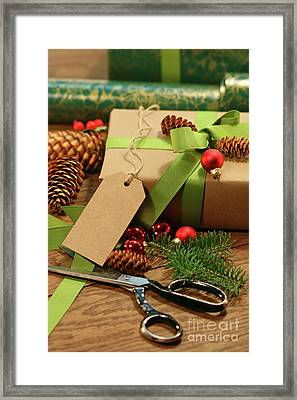 Wrapping Gifts For The Holidays Framed Print by Sandra Cunningham