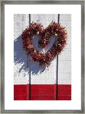 Wreath Heart On Wood Wall Framed Print by Garry Gay