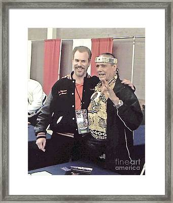 Wrestling Legend Jimmy Superfly Snuka And Myself Framed Print by Jim Fitzpatrick