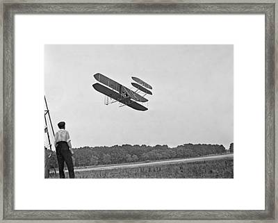 Wrights Airplane In Army Trial Flights Framed Print by Everett