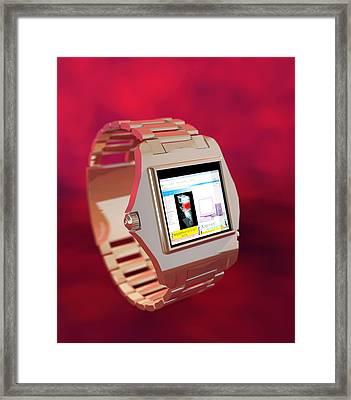Wrist Watch Computer, Computer Artwork Framed Print by Christian Darkin