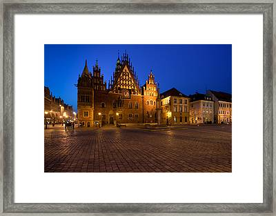 Wroclaw Town Hall At Night Framed Print by Sebastian Musial