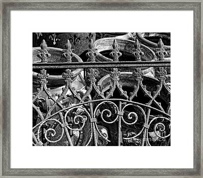 Wrought Iron Gate And Pots Black And White Framed Print by Kathleen K Parker