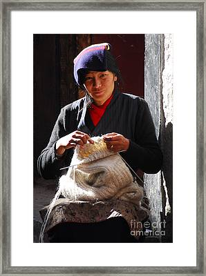 Yak Wool Sweater Weaver Framed Print by Marko Moudrak