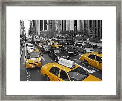 Yellow Cabs Ny Framed Print by Melanie Viola