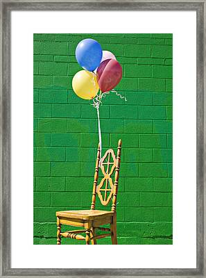 Yellow Cahir With Balloons Framed Print by Garry Gay