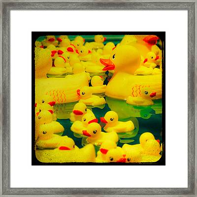 Yellow Ducky Game Framed Print by Sonja Quintero