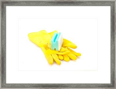 Yellow Gloves Framed Print by Tom Gowanlock