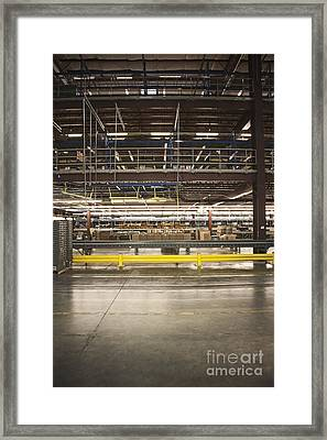 Yellow Guardrail In A Warehouse Framed Print by Jetta Productions, Inc