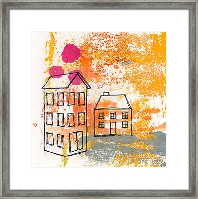 Yellow House Framed Print by Linda Woods