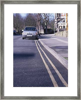 Yellow Lines On Road Framed Print by Andrew Lambert Photography