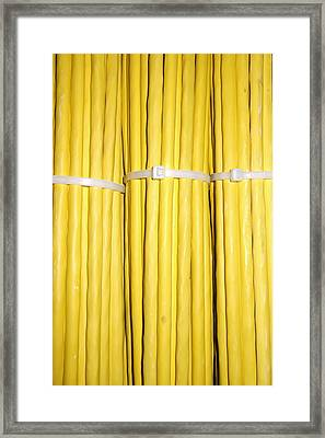 Yellow Network Cables Framed Print by Matthias Hauser