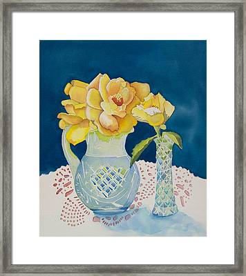Yellow On Blue Framed Print by Jeanne Hall