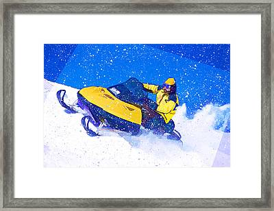Yellow Snowmobile In Blizzard Framed Print by Elaine Plesser