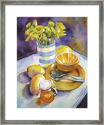 Yellow Still Life Framed Print by Susan Herbst