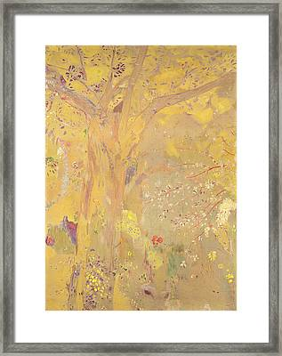 Yellow Tree Framed Print by Odilon Redon
