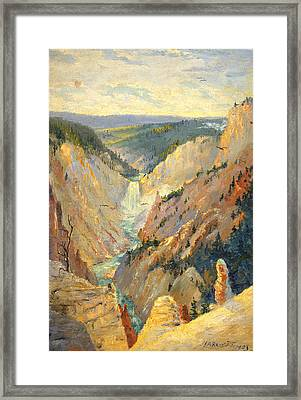 Yellowstone Falls And Hoodoos Framed Print by Lewis A Ramsey