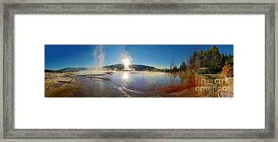 Yellowstone National Park - Minerva Terrace - Panorama Framed Print by Gregory Dyer