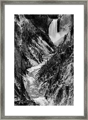 Yellowstone Waterfalls In Black And White Framed Print by Sebastian Musial
