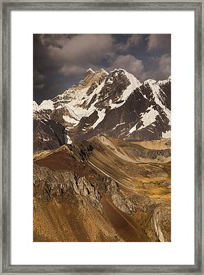 Yerupaja Chico 6121m In Cordillera Framed Print by Colin Monteath