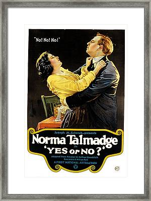 Yes Or No, Norma Talmadge, Lowell Framed Print by Everett