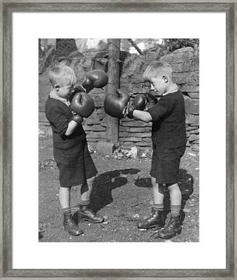 Young Boxing Twins Framed Print by Fox Photos