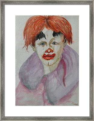 Young Clown Framed Print by Betty Pimm
